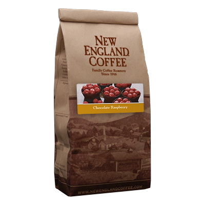 Packaging image for New England Coffee's Chocolate Raspberry flavored coffee