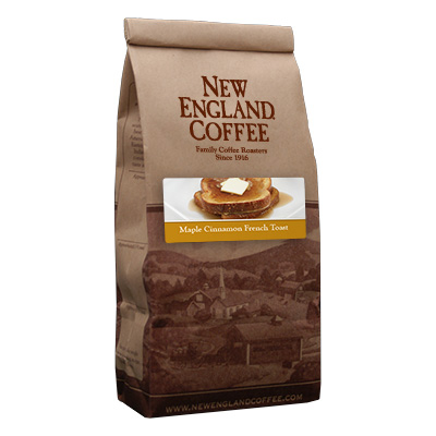 Packaging image for New England Coffee's Maple Cinnamon French Toast flavored coffee