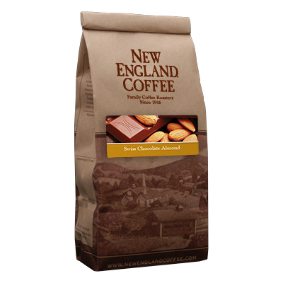 Packaging image for New England Coffee's Swiss Chocolate Almond flavored coffee