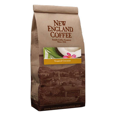 Packaging image for New England Coffee's Tropical Coconut flavored coffee