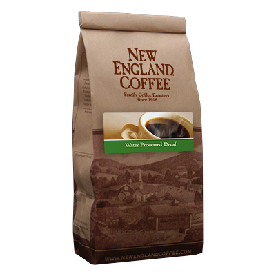 Packaging image for New England Coffee's Water Processed Decaf flavored coffee