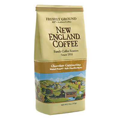 Packaging image for New England Coffee's Chocolate Cappuccino flavored coffee