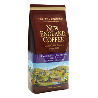 Packaging image for New England Coffee's Colombian Supremo Dark Roast flavored coffee