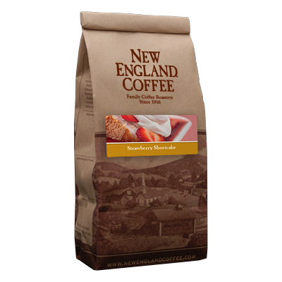 Packaging image for New England Coffee's Strawberry Shortcake flavored coffee