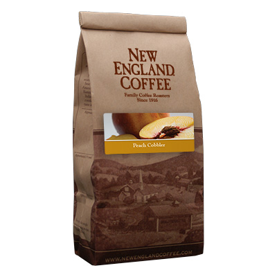 Packaging image for New England Coffee's Peach Cobbler flavored coffee