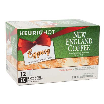 Box of Eggnog flavored single serve coffee