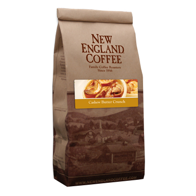 Packaging image for New England Coffee's Cashew Butter Crunch flavored coffee