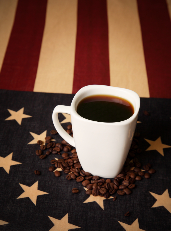 American flag and cup of coffee