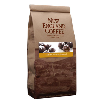 Packaging image for New England Coffee's Salted Chocolate Caramel flavored coffee