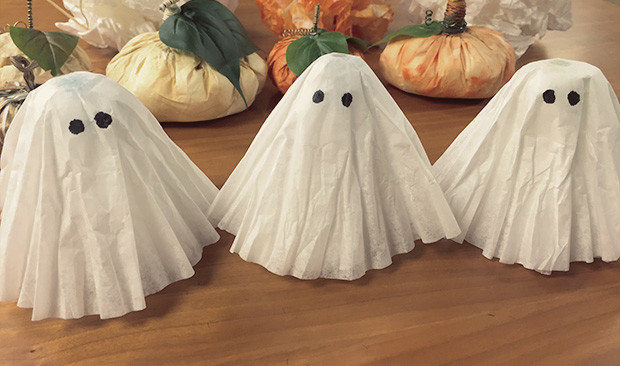 Halloween coffee filter crafts - ghosts - New England Coffee.