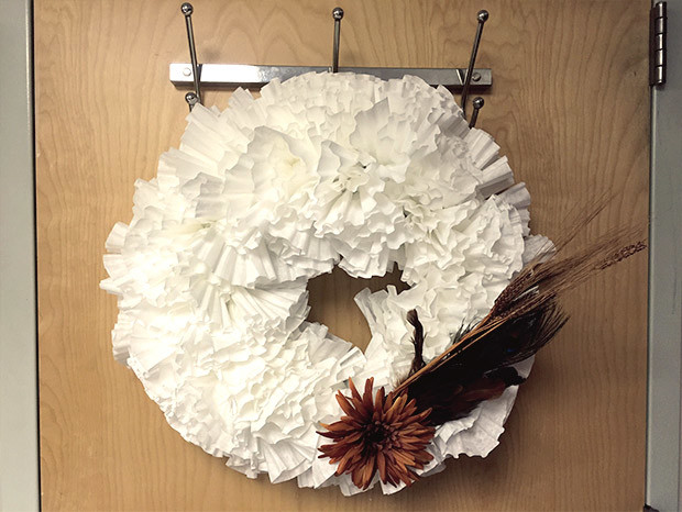 Coffee roaster, New England Coffee, coffee filter wreath craft.