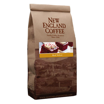 Packaging image for New England Coffee's Red Velvet flavored coffee