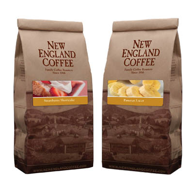 Packaging image for New England Coffee's Strawberry Shortcake & Banana Foster flavored coffees.