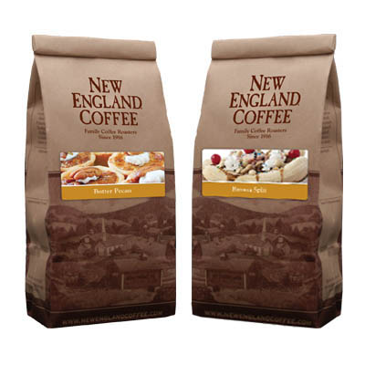 Packaging image for New England Coffee's Butter Pecan & Banana Split flavored coffees.