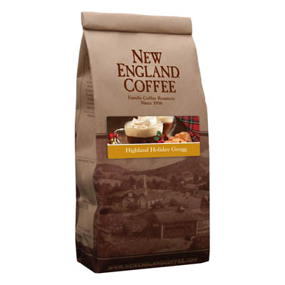 Packaging image for New England Coffee's Highland Holiday Grogg flavored coffee