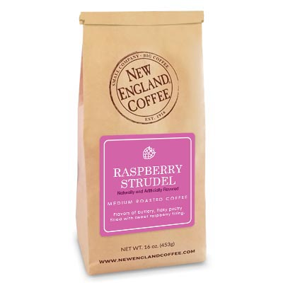 A bag of raspberry strudel flavored coffee